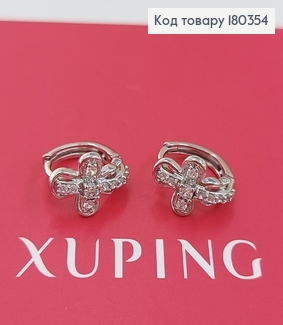 Сережки кільця хрестики з камінцями родоване медзолото Xuping 180354 фото