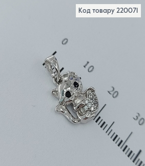 Кулон кошечка с серцем в камнях родированое  медицинское золото Xuping 18K 220071 фото