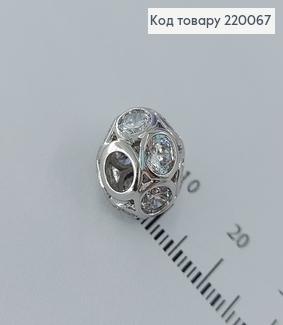 Кулон шарм з камінцями 1,0см родіроване  медичне золото Xuping   220067 фото
