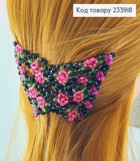 Заколка Монтера для волосся чорна з рожевою квіточкою 233918 фото