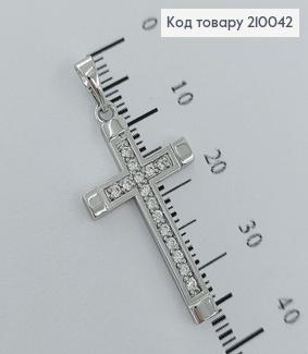 Хрестик  з камінцями 3х1,5см   родірований медзолото Xuping  210042 фото