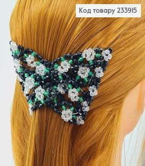 Заколка Монтера для волосся чорна з білою квіточкою 233915 фото