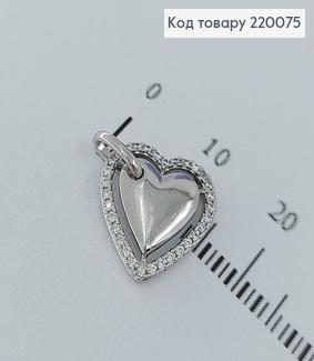 Кулон серце на сторону в камнях родированое  медицинское золото Xuping 18K 220075 фото