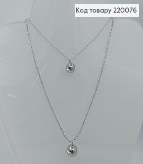Кулон две цепочки с бусинками 39см + 5см  родированое медицинское золото Xuping  220076 фото