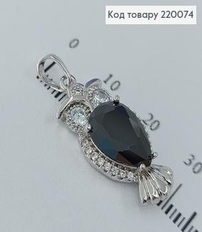 Кулон сова с большим черным камнем родированое медицинское золото Xuping 18K 220074 фото