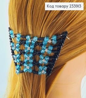 Заколка Монтера для волосся чорна з блакитною квіточкою 233913 фото