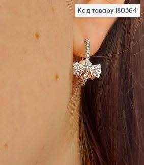Серьги гвозди Бантики с жемчужиной и камнями медзолото Xuping 180364 фото