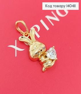 Кулон Закоханий зайка з камнем сердечком  медичне золото Xuping  140411 фото