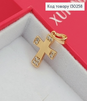 Хрестик 1,3х1,7см з камінцями медзолото Xuping 18K 130258 фото