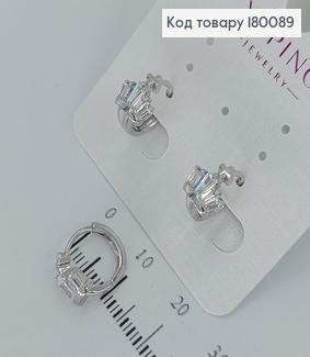 Сережки кільця Корона з камінцями  медичне золото Xuping 180089 фото