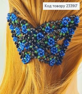 Заколка Монтера для волосся чорна з синьою квіточкою 233917 фото