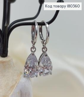 Сережки кільця з великим камнем капелькою родоване медзолото Xuping 180360 фото