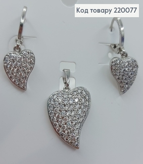 Набір родований сережки   та кулон  з камінцями срібло Xuping 18K 220077 фото