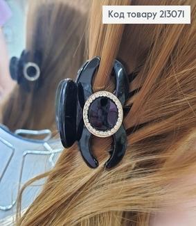 Краб чорний глянцевий з брошкою в камінцях 213071 фото