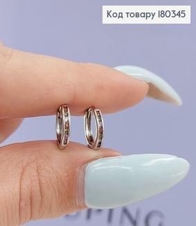 Сережки кільця з кольоровими  камінцями  родоване медзолото Xuping 180345 фото