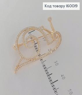Брошка Равлик   з камніцями медичне золото 18К  Xuping 160019 фото
