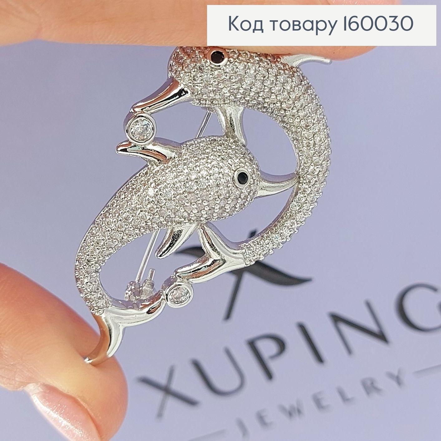 Брошка Дельфіни   в камінцях медичне золото  Xuping 18к 160030 фото 1