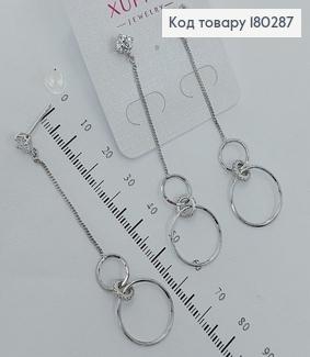 Сережки   гвіздки підвіски кольца  з камнями родіроване  медзолото Xuping 180287 фото