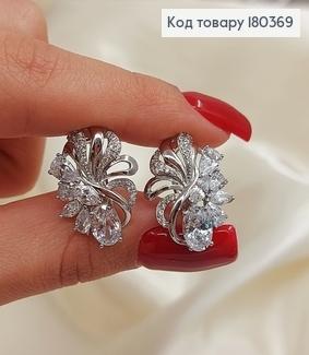 Серьги Цветочек с большими камнями родированным медзолото Xuping 180369 фото